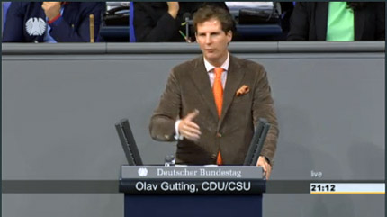 Screenshot: Olav Gutting MdB im Plenum des Deutschen Bundestages